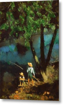 Boys Fishing In A Bayou Metal Print by Kai Saarto