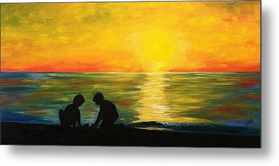 Boys In The Sunset Metal Print