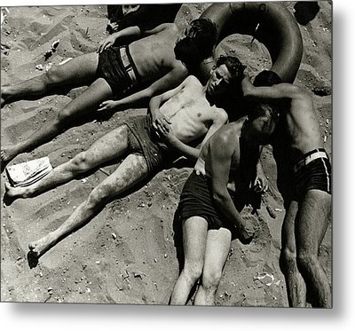 Boys Lying On The Beach At Coney Island In New Metal Print