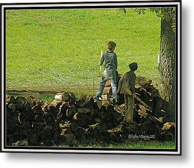 Metal Print featuring the photograph Boys Will Be Boys by Kathy Barney