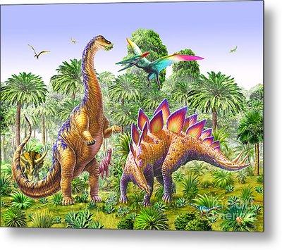 Brachiosaur And Stegasaur Metal Print by Adrian Chesterman