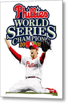 Brad Lidge Ws Champs Logo Metal Print by Scott Weigner
