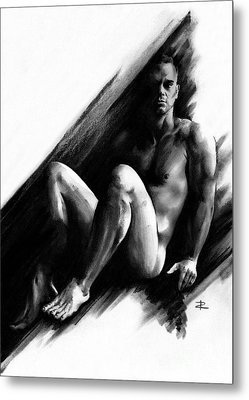 Metal Print featuring the drawing Bradley by Paul Davenport