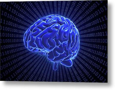 Brain And Binary Code Metal Print