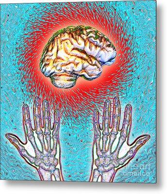 Brain And Hands Energy Metal Print by Dennis D. Potokar
