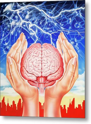 Brain Protection Metal Print by John Bavosi