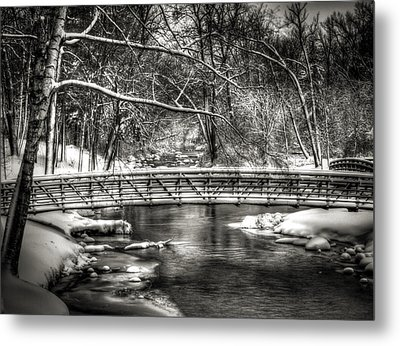 Brainards Bridge After A Snow Storm 3 Metal Print by Thomas Young