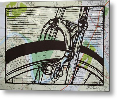 Brake On Map Metal Print by William Cauthern