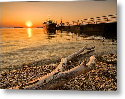 Branch Barge And Sunset Metal Print by Davorin Mance