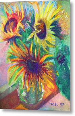 Brandy's Sunflowers - Still Life On Windowsill Metal Print by Talya Johnson