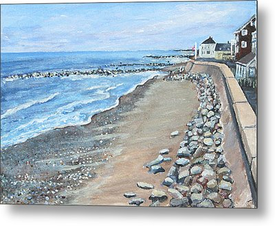 Brant Rock At High Tide Metal Print by Rita Brown