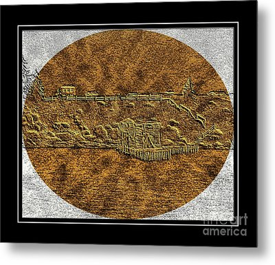 Brass Etching - Oval - Fishing Stage Metal Print by Barbara Griffin
