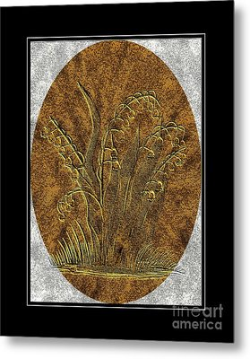 Brass Etching - Oval - Lily Of The Valley Metal Print by Barbara Griffin