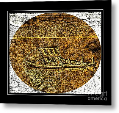 Brass Etching - Oval - Moving House By Water Metal Print by Barbara Griffin