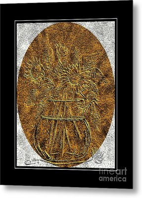 Brass Etching - Oval - Sunflowers Metal Print by Barbara Griffin
