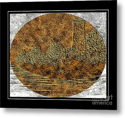 Brass Etching - Oval - Lighthouse Metal Print by Barbara Griffin