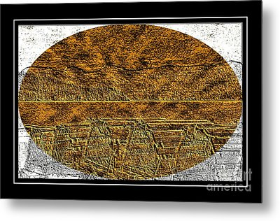 Brass Etching - Oval - Lobster Pots Metal Print by Barbara Griffin