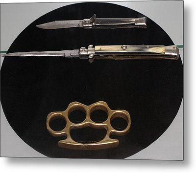 Brass Knuckles And Knives Metal Print by Steven Parker