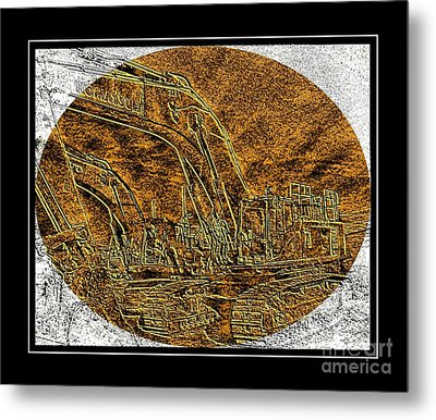 Brass-type Etching - Oval - Construction Worker Metal Print by Barbara Griffin