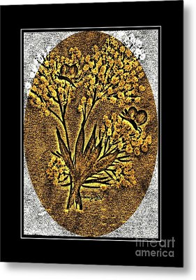 Brass-type Etching - Oval - Butterflies And Babies Breath Metal Print by Barbara Griffin