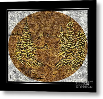 Brass-type Etching - Oval - Cabin Between The Trees Metal Print by Barbara Griffin