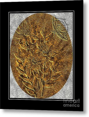Brass-type Etching - Oval - Daisies And Butterfly Metal Print by Barbara Griffin