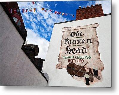 Brazen Head Pub Sign, Bridge Street Metal Print