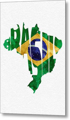 Brazil Typographic Map Flag Metal Print by Ayse Deniz