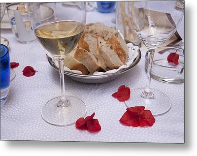 Bread And Wine Italian Restaurant Metal Print by Antique Images