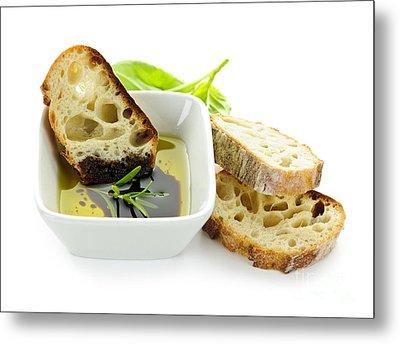 Bread Olive Oil And Vinegar Metal Print by Elena Elisseeva