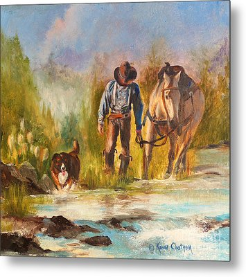 Metal Print featuring the painting Break For The Ride by Karen Kennedy Chatham