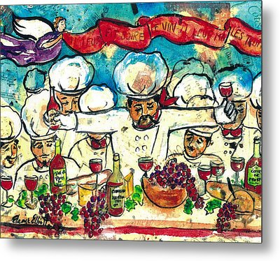 Break The Bread Drink The Wine Eat The Truffles Metal Print by Elaine Elliott