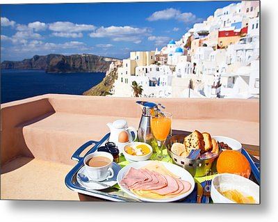 Breakfast At Terrace Metal Print by Aiolos Greek Collections