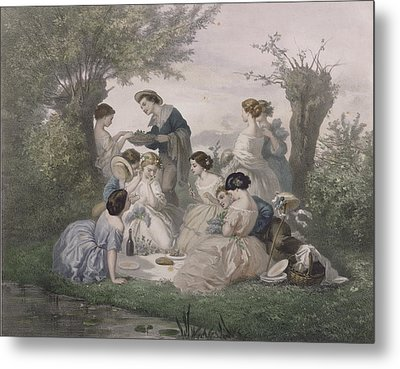 Breakfast In The Spring, Engraved By Regnier, Bettannier And Morlon Colour Litho Metal Print