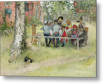 Breakfast Under The Big Birch Metal Print by Carl Larsson