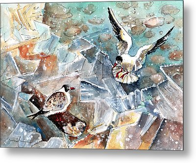 Breaking The Ice On Lake Constance Metal Print by Miki De Goodaboom
