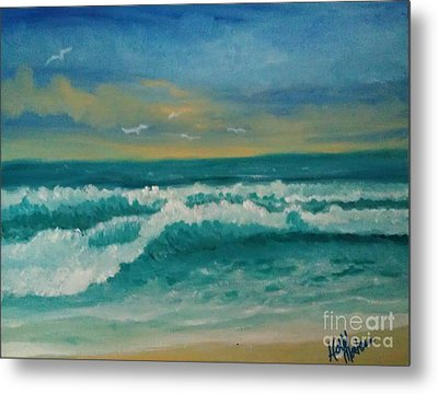 Metal Print featuring the painting Breaking Waves by Holly Martinson