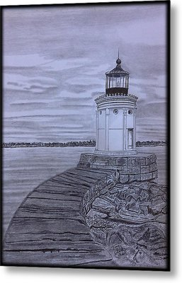 Breakwater Bug Lighthouse Metal Print