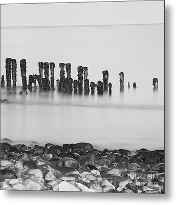 Breakwater Squared Metal Print by Anne Gilbert