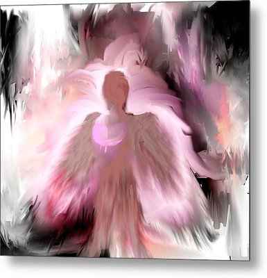 Breast Cancer Angel Metal Print