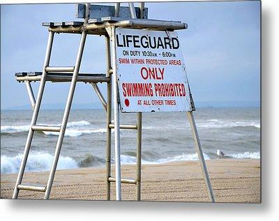 Breezy Lifeguard Chair Metal Print