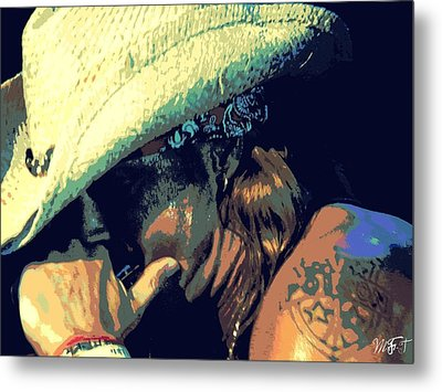Bret Michaels With Harmonica Metal Print