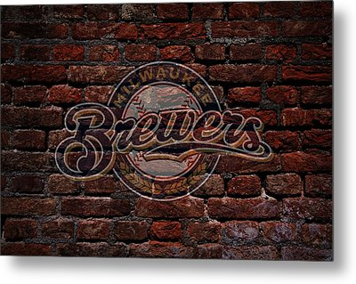 Brewers Baseball Graffiti On Brick  Metal Print by Movie Poster Prints