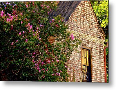 Metal Print featuring the photograph Brick And Myrtle by Rodney Lee Williams