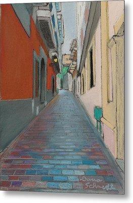 Brick Street In Old San Juan Puerto Rico Metal Print