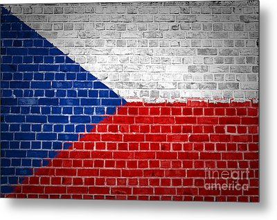 Brick Wall Czech Republic Metal Print by Antony McAulay
