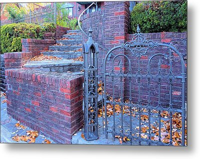 Metal Print featuring the photograph Brick Wall With Wrought Iron Gate by Janette Boyd