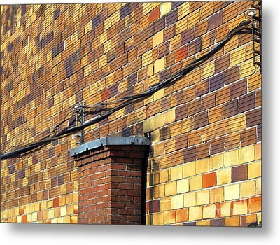 Metal Print featuring the photograph Bricks And Wires by Ethna Gillespie