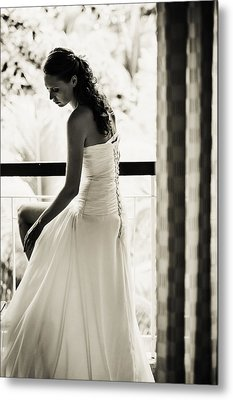Bride At The Balcony II. Black And White Metal Print by Jenny Rainbow