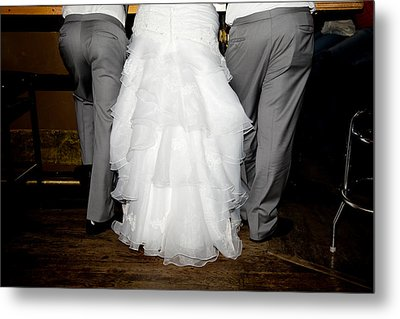 Metal Print featuring the photograph Bride At The Bar by Courtney Webster